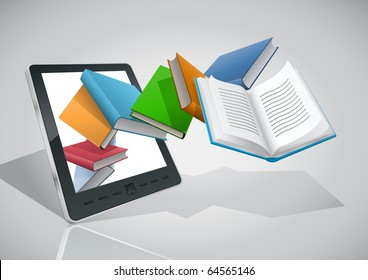 E-book reader and books. Vector illustration. Elements are layered separately. Easy editable.
