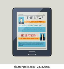 E-book reader. Electronic book. Newspaper. Magazine. Vector illustartion.