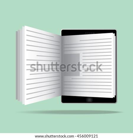 Ebook Reader Icon Flat Design Online Reading Stock Image