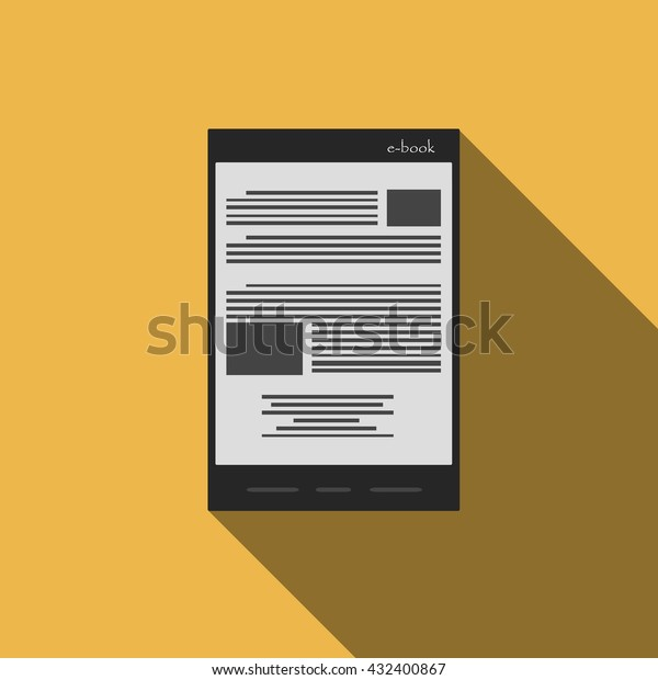 Ebook Reader Icon Flat Style Trendy Stock Vector Royalty