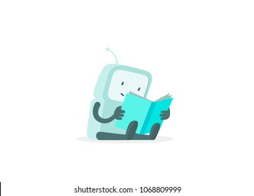 eBook reading. The robot sits reading book. Instructions user guide. Flat color vector illustration