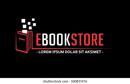 E-Book Store LOGO. Book Shop vector emblem.  E-books vector and illustration.