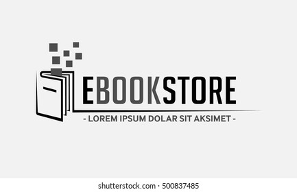 E-Book Store LOGO. Book Shop vector emblem.  E-books vector and illustration.