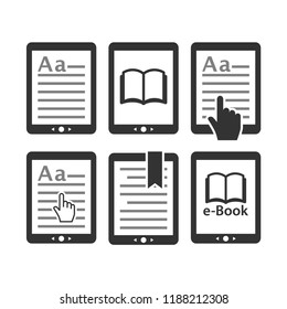 Ebook tablet e-reader device icon set. E reading, e book icons. Display with text, bookmark, open book touchpad icons.