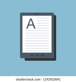 E-book vector icon in flat style. E-reader symbol Isolated on a light background. Electronic or kindle book concept.