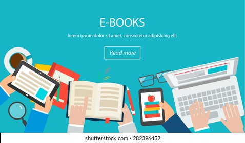 E-books concept with top view of desk with human hands holding books  and reading them on computers, tablet, smartphones, vector illustration