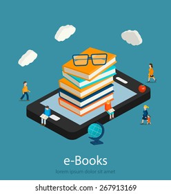 E-books isometric concept. Online mobile library in smartphone or tablet,  micro people reading books,  vector illustration