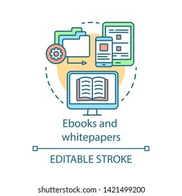 Ebooks and whitepapers concept icon. Content marketing channels idea thin line illustration. Electronic book. Distance learning. Virtual library. Vector isolated outline drawing. Editable stroke
