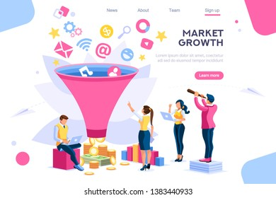 E-business buyer, market imagination growth focus filter. Digital generation. Elements for web banner, infographics, hero images. Flat isometric vector illustration isolated on white background