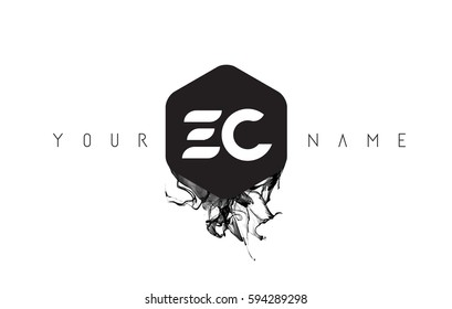EC Black Ink Letter Logo Design with Rounded Hexagon Vector.