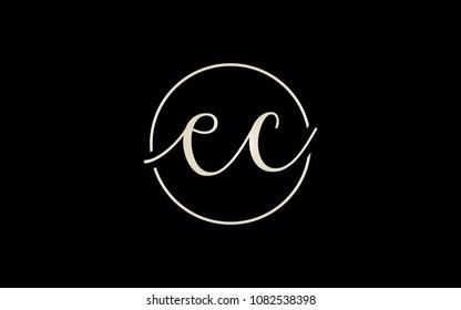 ec ce Circular Cursive Letter Initial Logo Design