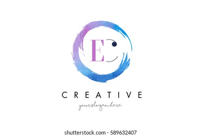 EC Circular Letter Brush Logo. Pink Brush with Splash Concept Design.