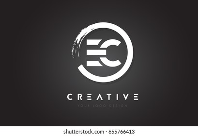 EC Circular Letter Logo with Circle Brush Design and Black Background.