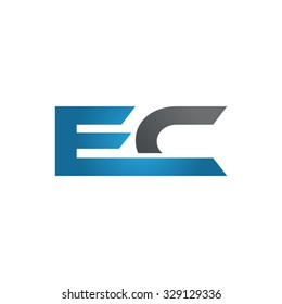 EC company linked letter logo blue