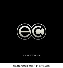 EC E C initial letter linked circle capital monogram logo modern template silver color edition