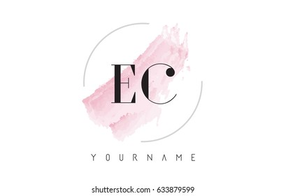 EC E C Watercolor Letter Logo Design with Circular Shape and Pastel Pink Brush.