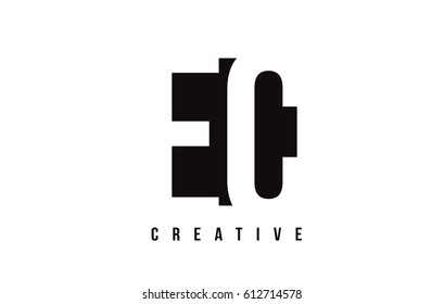 EC E C White Letter Logo Design with Black Square Vector Illustration Template.