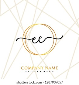 EC Initial Handwriting logo template vector
