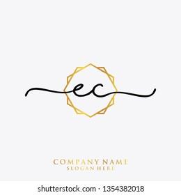 EC Initial handwriting logo template