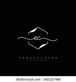 EC initial handwriting logo template vector