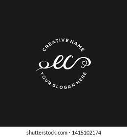 EC Initial handwriting logo vector