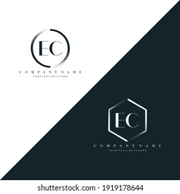 EC Initial Letter Circle Brush With Hexagon Brush Logo Template Vector