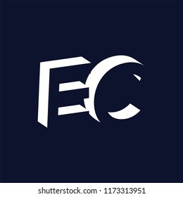EC initial letter with negative space logo icon vector template