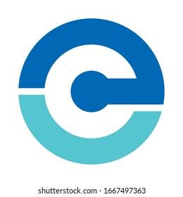 EC initials for technology company logo design