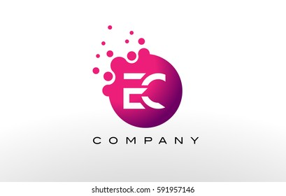 EC Letter Dots Logo Design with Creative Trendy Bubbles and Purple Magenta Colors.