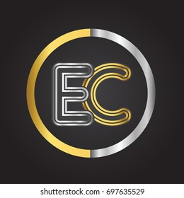 EC Letter logo in a circle. gold and silver colored. Vector design template elements for your business or company identity.