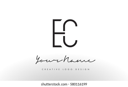 EC Letters Logo Design Slim. Simple and Creative Black Letter Concept Illustration.