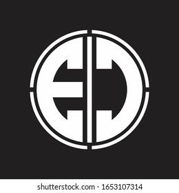 EC Logo initial with circle line cut design template
