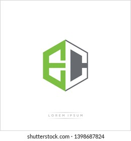 EC Logo Initial Monogram Negative Space Design Template With Green and Grey Color - Vector EPS 10