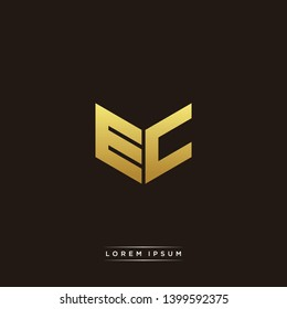 EC Logo Letter Initial Logo Designs Templete with Gold and Black Background