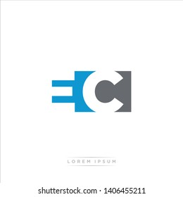 EC Logo Letter with Modern Negative space - Blue and Grey Color EPS 10