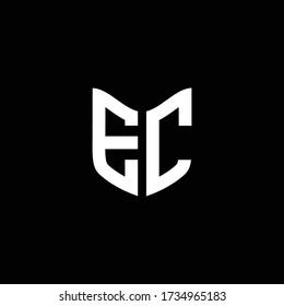 EC logo monogram with shield shape design template