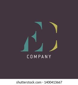 EC logo template. Company logo. monogram EC.