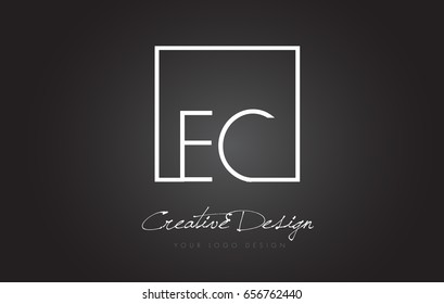 EC Square Framed Letter Logo Design Vector with Black and White Colors.