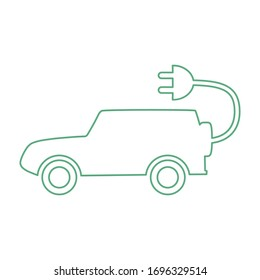E-car icon in flat style. Auto vector illustration isolated on white background.