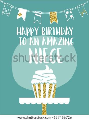 E card greeting card happy birthday amazing stock vector royalty ecard greeting card happy birthday amazing niece hand drawn green white design with golden glitter m4hsunfo