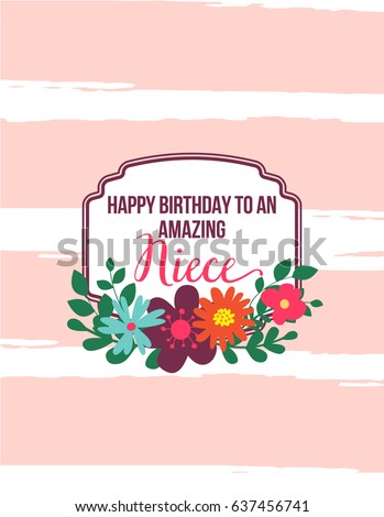 ECard Greeting Card Happy Birthday Amazing Niece Hand Drawn Design With Pink Stripes Frame