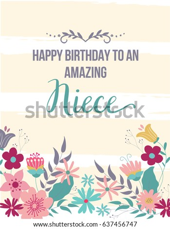 E card greeting card happy birthday amazing stock vector royalty ecard greeting card happy birthday amazing niece hand drawn design with beige stripes and flowers m4hsunfo