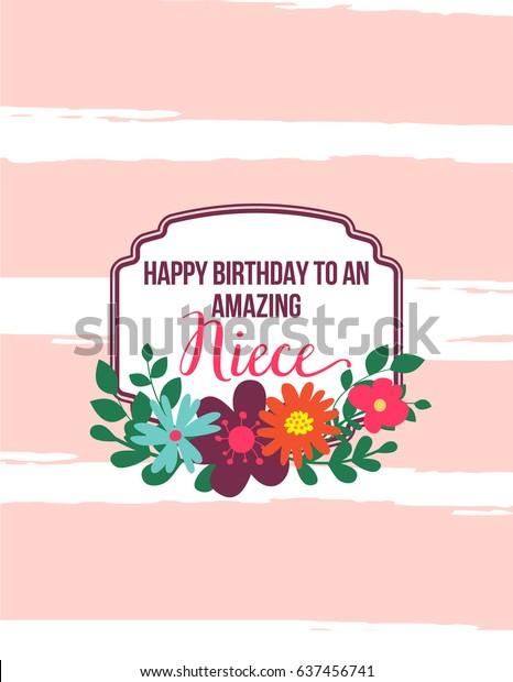 ECard Greeting Card Happy Birthday Amazing Niece Hand Drawn Design With Pink Stripes Frame