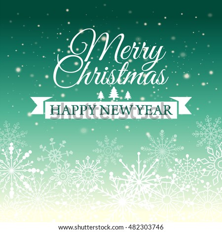 e card for happy new year and merry christmas vector illustration