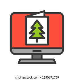 eCard vector, Christmas related filled design icon, editable outline
