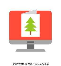 eCard vector, Christmas related flat design icon