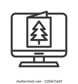 eCard vector, Christmas related line design icon