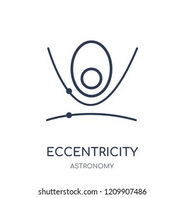 Eccentricity icon. Eccentricity linear symbol design from Astronomy collection.