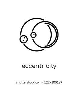 eccentricity icon. Trendy modern flat linear vector eccentricity icon on white background from thin line Astronomy collection, outline vector illustration