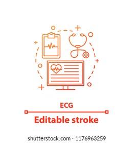 ECG concept icon. Electrocardiography. Cardiology idea thin line illustration. Cardiovascular examination. Heart diseases diagnosis. Vector isolated outline drawing. Editable stroke